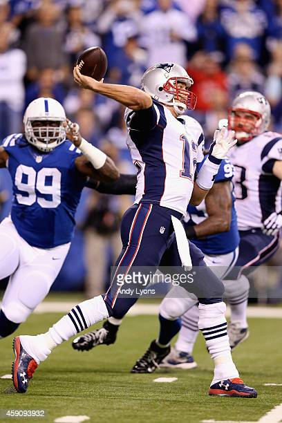 Quarterback Tom Brady of the New England Patriots throws a a pass against the Indianapolis Colts during the first quarter of the game at Lucas Oil...