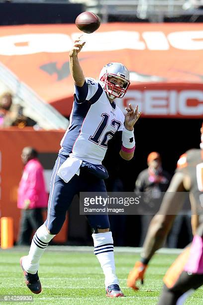Quarterback Tom Brady of the New England Patriots throws a pass during a game against the Cleveland Browns on October 9 2016 at FirstEnergy Stadium...
