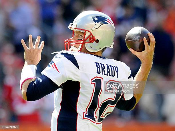 Quarterback Tom Brady of the New England Patriots throws a pass prior to a game against the Cleveland Browns on October 9 2016 at FirstEnergy Stadium...