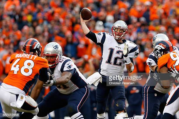 Quarterback Tom Brady of the New England Patriots throws a pass during the AFC Championship game against the Denver Broncos at Sports Authority Field...