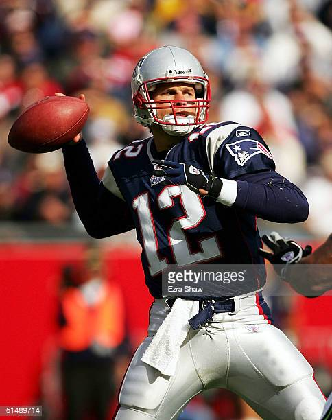 Quarterback Tom Brady of the New England Patriots throws a pass against the Seattle Seahawks on October 17, 2004 at Gillette Stadium in Foxboro,...