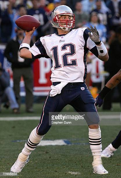 Quarterback Tom Brady of the New England Patriots throws a pass during the AFC divisional playoff game against the San Diego Chargers held on January...