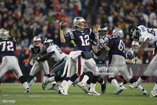 Quarterback Tom Brady of the New England Patriots throws pass during the game against the Philadelphia Eagles on November 25, 2007 at Gillette...