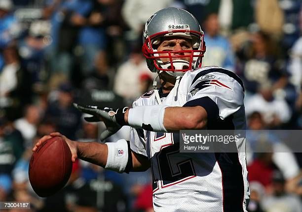 Quarterback Tom Brady of the New England Patriots throws the ball against the San Diego Chargers during the AFC Divisional Playoff Game held on...