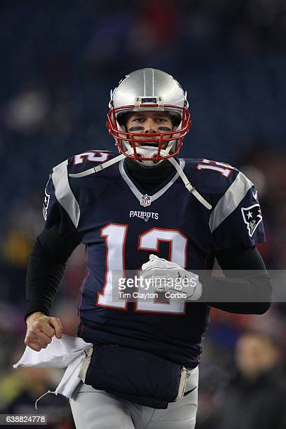 Quarterback Tom Brady of the New England Patriots warming up before the Houston Texans Vs New England Patriots Divisional round game during the NFL...