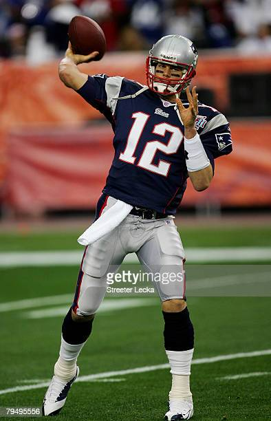 Quarterback Tom Brady of the New England Patriots warms up before taking on the New York Giants during Super Bowl XLII on February 3, 2008 at the...