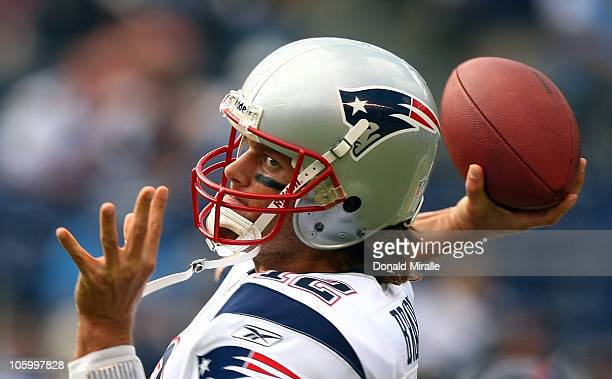 Quarterback Tom Brady of the New England throws the ball against the San Diego Chargers during their NFL game on October 24 2010 at Qualcomm Stadium...
