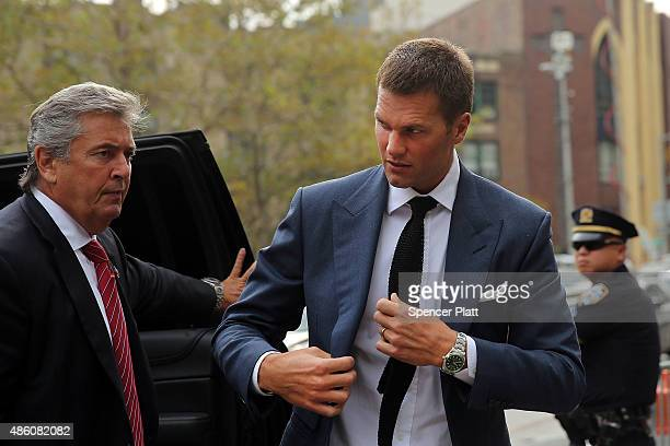 Quarterback Tom Brady of the New Englang Patriots arrives at federal court to contest his four game suspension on August 31 2015 in New York City US...
