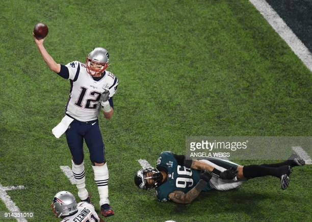Quarterback Tom Brady of the Patriots passes during Super Bowl LII between the New England Patriots and the Philadelphia Eagles at US Bank Stadium in...