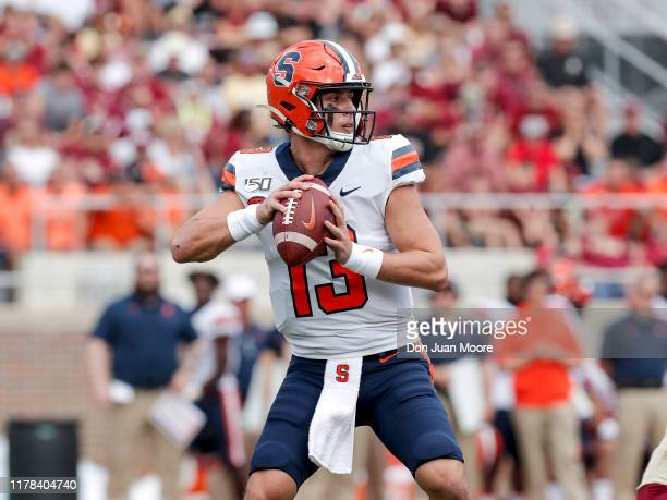 Quarterback Tommy DeVito of the Syracuse Orange on a pass play during the game against the Florida State Seminoles at Doak Campbell Stadium on Bobby...