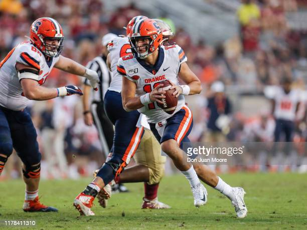Quarterback Tommy DeVito of the Syracuse Orange on a running play during the game against the Florida State Seminoles at Doak Campbell Stadium on...
