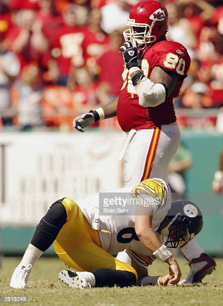 Quarterback Tommy Maddox of the Pittsburgh Steelers gets up slowly after getting hit during the game against the Kansas City Chiefs at Arrowhead...