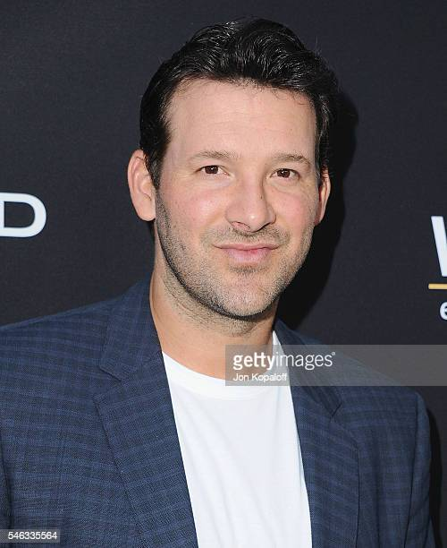 NFL quarterback Tony Romo arrives at the Los Angeles Premiere Undrafted at ArcLight Hollywood on July 11 2016 in Hollywood California
