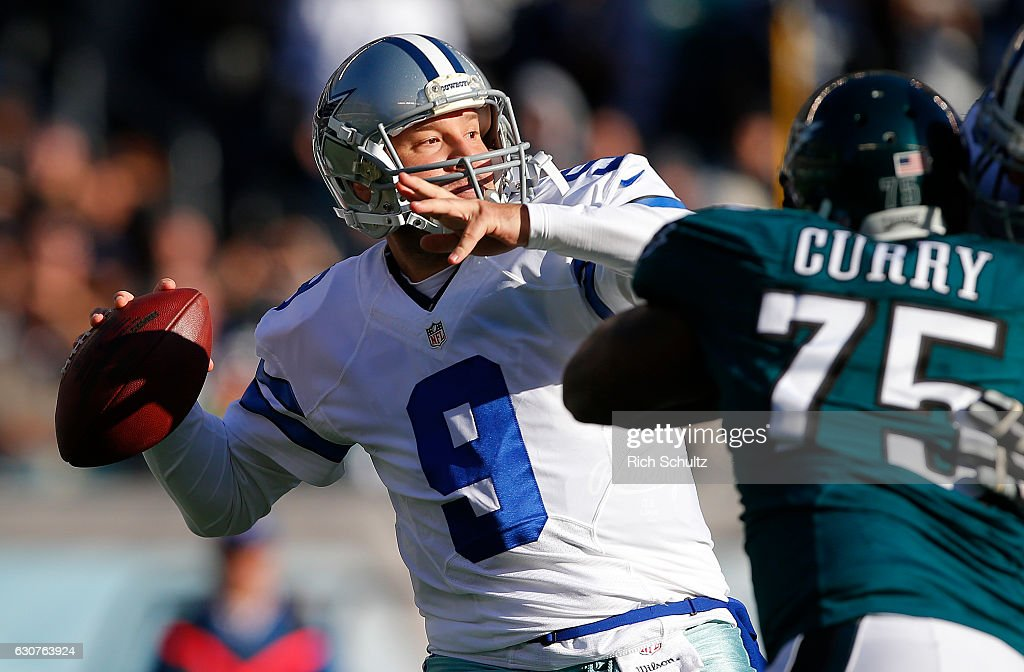 Quarterback Tony Romo #9 of the Dallas Cowboys attempts his first pass of the season as Vinny Curry #75 of the Philadelphia Eagles closes in during the second quarter of a game at Lincoln Financial Field on January 1, 2017 in Philadelphia, Pennsylvania.