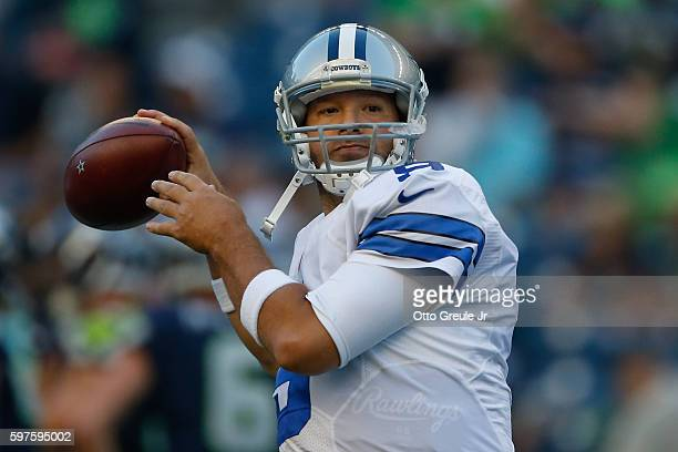 Quarterback Tony Romo of the Dallas Cowboys warms up prior to the preseason game against the Seattle Seahawks at CenturyLink Field on August 25 2016...