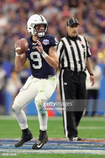 Quarterback Trace McSorley of the Penn State Nittany Lions drops back to pass during the Playstation Fiesta Bowl against the Washington Huskies at...
