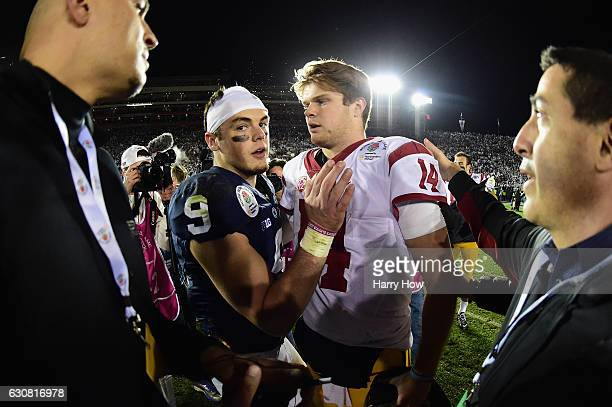 Quarterback Trace McSorley of the Penn State Nittany Lions greets quarterback Sam Darnold of the USC Trojans after the Trojans defeated the Nittany...