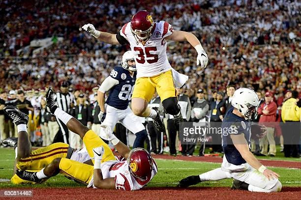 Quarterback Trace McSorley of the Penn State Nittany Lions rushes for a 3-yard touchdown in the third quarter against the USC Trojans during the 2017...