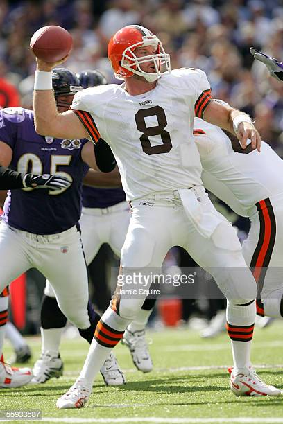 Quarterback Trent Dilfer of the Cleveland Browns passes against the Baltimore Ravens during the first half October 16, 2005 at M&T Bank Stadium in...