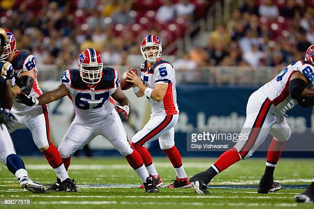 Quarterback Trent Edwards of the Buffalo Bills looks to pass the ball during the game against the St Louis Rams at Edward Jones Dome on September 28...