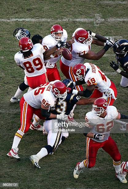 Quarterback Trent Green of the Kansas City Chiefs has a fumble forced by Shawne Marriman of the San Diego Chargers during the 4th quarter of their...