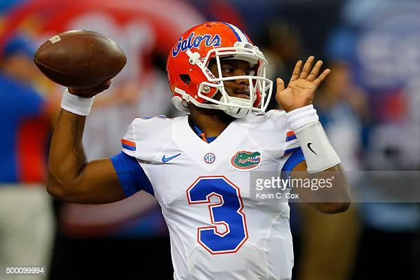 Quarterback Treon Harris of the Florida Gators warms up before the SEC Championship game against the Alabama Crimson Tide at the Georgia Dome on...