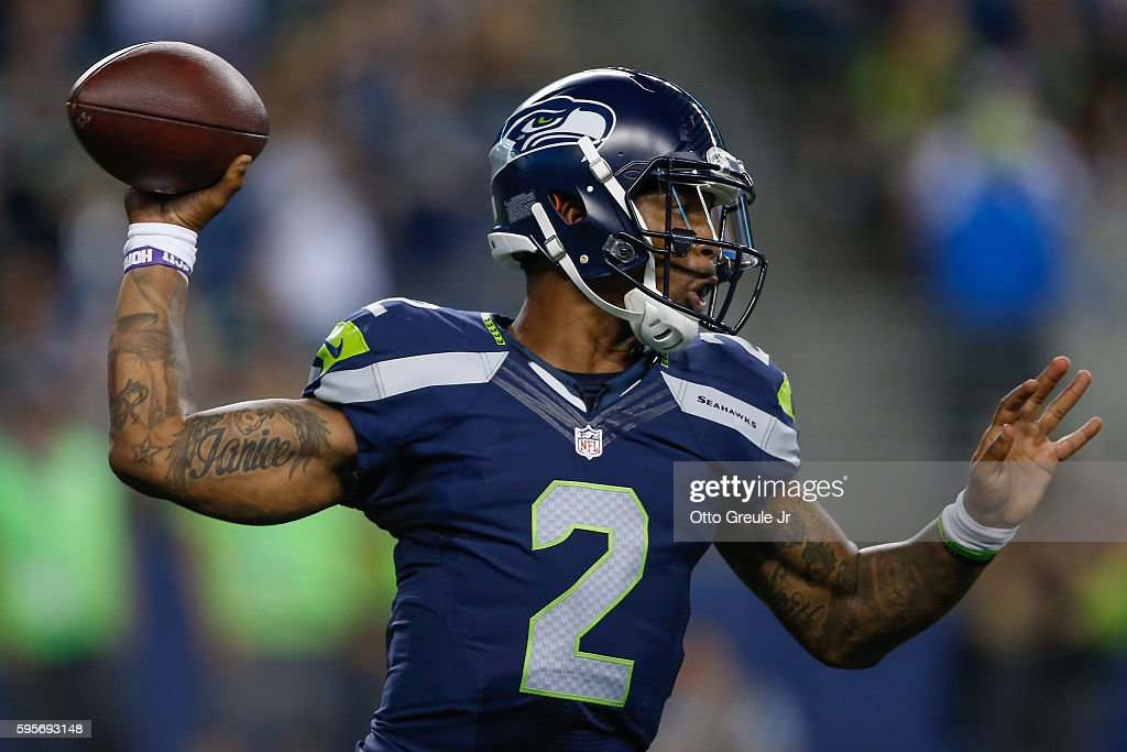 Quarterback Trevone Boykin #2 of the Seattle Seahawks passes against the Dallas Cowboys at CenturyLink Field on August 25, 2016 in Seattle, Washington. The Seahawks defeated the Cowboys 27-17.