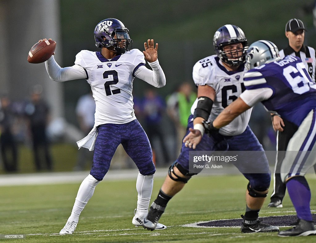 Quarterback Trevone Boykin #2 of the TCU Horned Frogs drops back to pass against the Kansas State Wildcats during the first half on October 10, 2015 at Bill Snyder Family Stadium in Manhattan, Kansas.