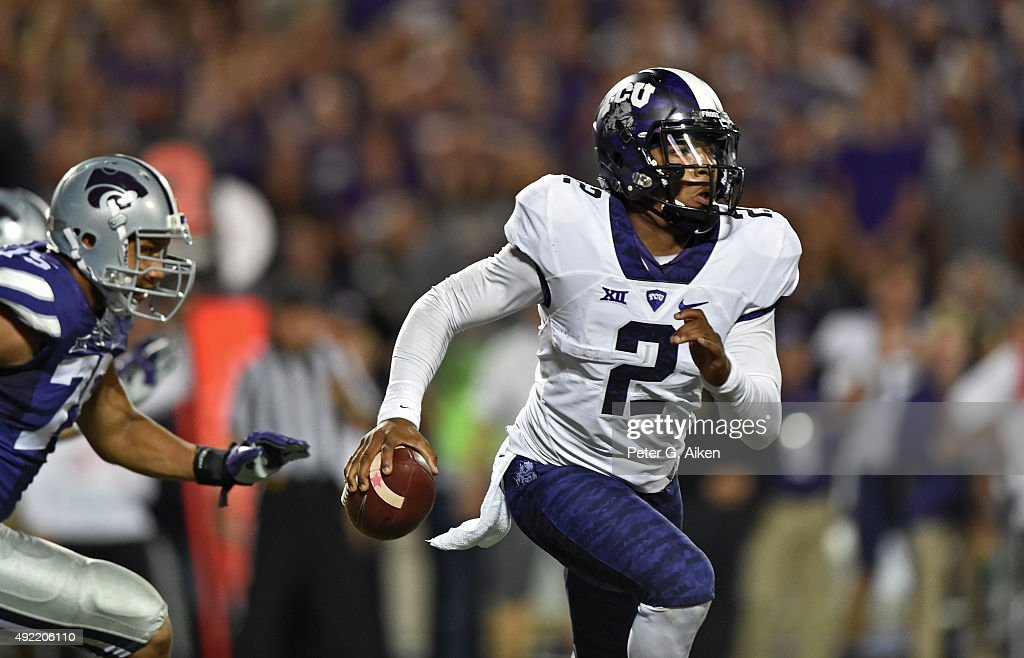 Quarterback Trevone Boykin #2 of the TCU Horned Frogs scrambles with the ball against the Kansas State Wildcats during the second half on October 10, 2015 at Bill Snyder Family Stadium in Manhattan, Kansas.