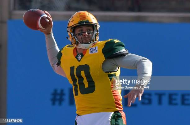 Quarterback Trevor Knight of the Arizona Hotshots looks to pass during an Alliance of American Football game against the Salt Lake Stallions at...