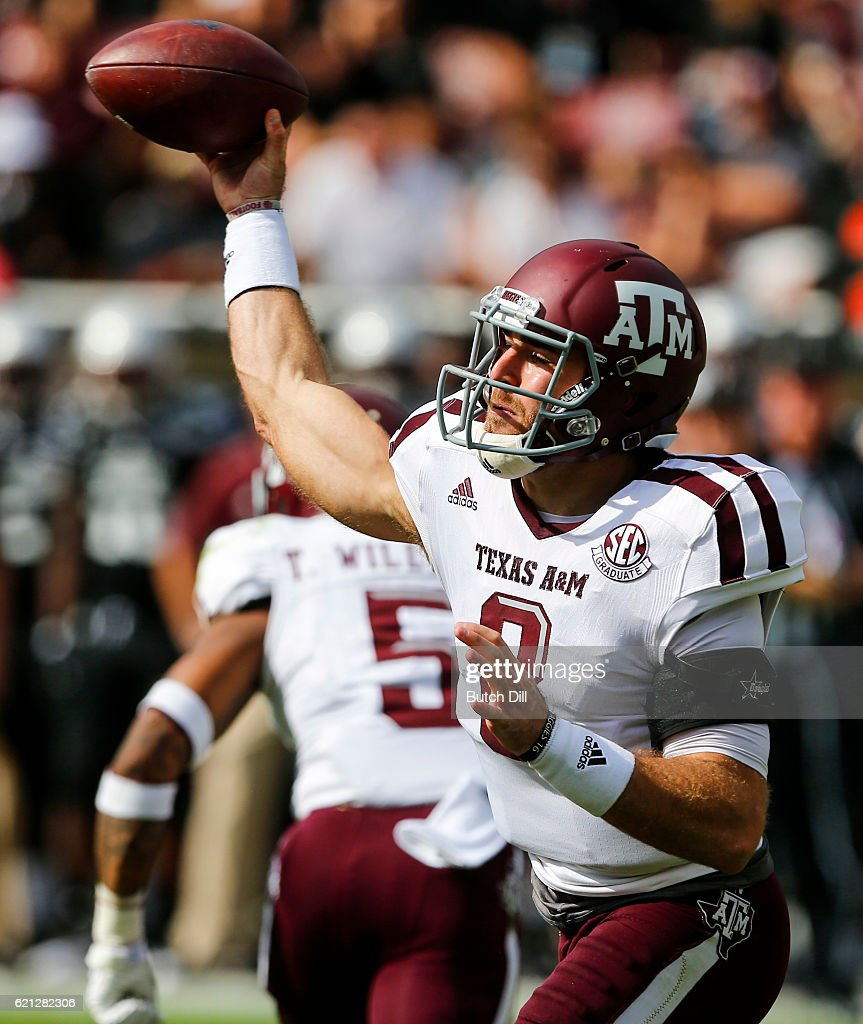 Quarterback Trevor Knight #8 of the Texas A&M Aggies throws a pass during the first half of an NCAA college football game against the Mississippi State Bulldogs at Davis Wade Stadium on November 5, 2016 in Starkville, Mississippi.