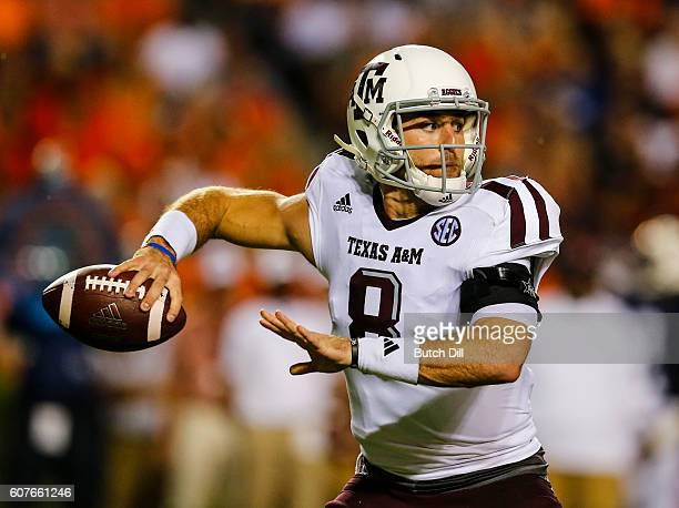 Quarterback Trevor Knight of the Texas AM Aggies throws a pass against the Auburn Tigers during an NCAA college football game on September 17 2016 in...