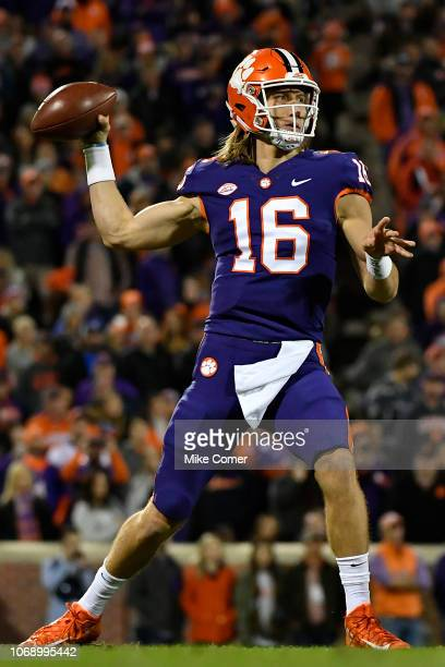 Quarterback Trevor Lawrence of the Clemson Tigers drops back to pass against the Duke Blue Devils during their football game at Clemson Memorial...