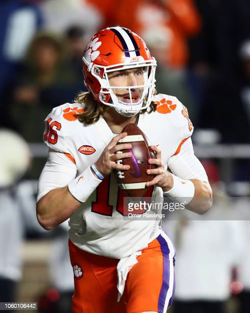 Quarterback Trevor Lawrence of the Clemson Tigers looks to pass in the fourth quarter of the game against the Boston College Eagles at Alumni Stadium...