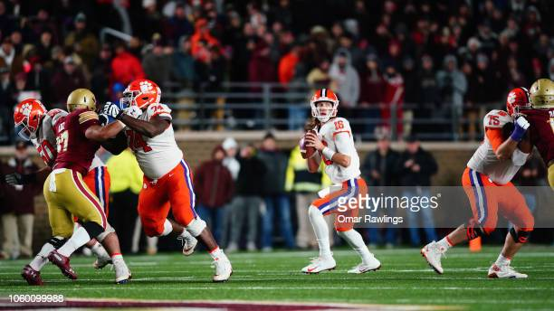 Quarterback Trevor Lawrence of the Clemson Tigers looks to pass during the first quarter of the game against the Boston College Eagles at Alumni...
