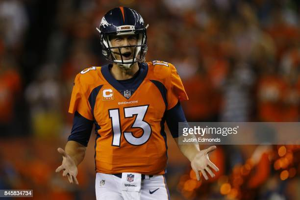 Quarterback Trevor Siemian of the Denver Broncos is introduced to the game against the Los Angeles Chargers at Sports Authority Field at Mile High on...