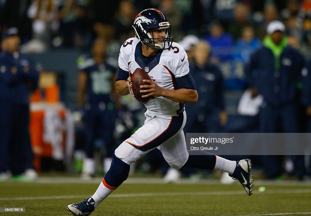 Quarterback Trevor Siemian #3 of the Denver Broncos looks downfield to pass against the Seattle Seahawks at CenturyLink Field on August 14, 2015 in Seattle, Washington. The Broncos defeated the Seahawks 22-20.