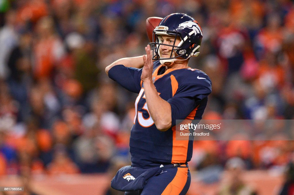 Quarterback Trevor Siemian #13 of the Denver Broncos passes against the New York Giants in the first quarter of a game at Sports Authority Field at Mile High on October 15, 2017 in Denver, Colorado.