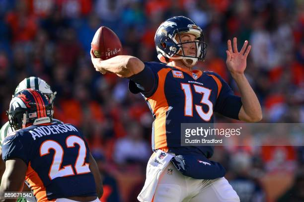Quarterback Trevor Siemian of the Denver Broncos passes against the New York Jets in the first quarter of a game at Sports Authority Field at Mile...