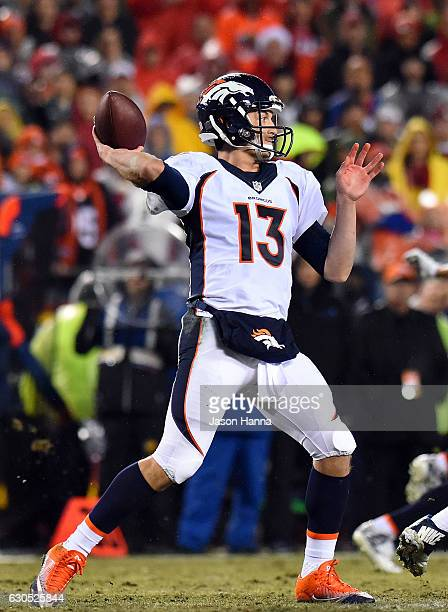 Quarterback Trevor Siemian of the Denver Broncos passes during the game against the Kansas City Chiefs at Arrowhead Stadium on December 25 2016 in...