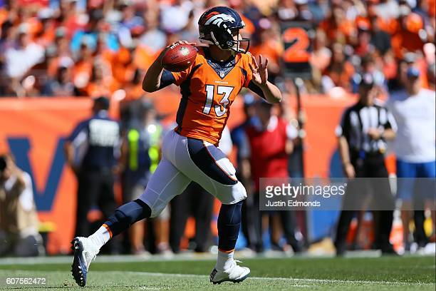 Quarterback Trevor Siemian of the Denver Broncos throws in the first quarter of the game against the Indianapolis Colts at Sports Authority Field...