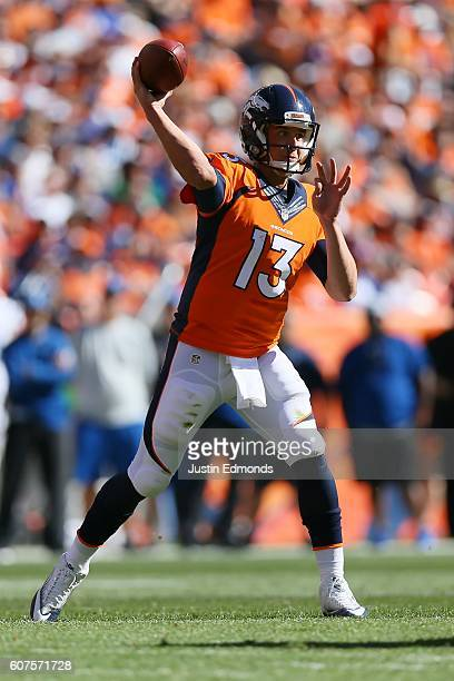 Quarterback Trevor Siemian of the Denver Broncos throws in the first half of the game against the Indianapolis Colts at Sports Authority Field at...