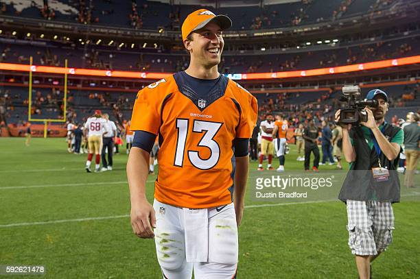 Quarterback Trevor Siemian of the Denver Broncos walks off the field after a preseason NFL game against the San Francisco 49ers at Sports Authority...