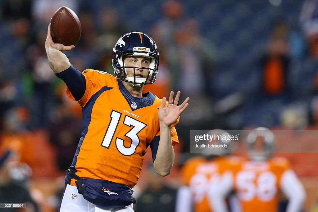 Quarterback Trevor Siemian #13 of the Denver Broncos warms up before the game against the Kansas City Chiefs at Sports Authority Field at Mile High on November 27, 2016 in Denver, Colorado.