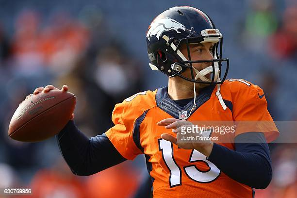 Quarterback Trevor Siemian of the Denver Broncos warms up before the game against the Oakland Raiders at Sports Authority Field at Mile High on...