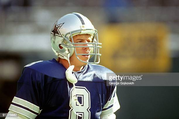 Quarterback Troy Aikman of the Dallas Cowboys looks on from the field prior to a National Football League game against the Philadelphia Eagles at...