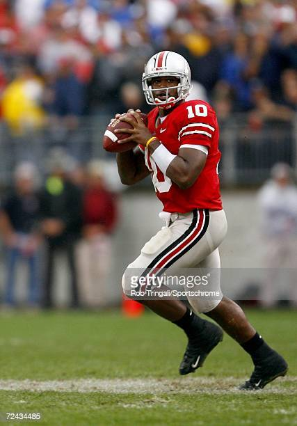 Quarterback Troy Smith of the Ohio State Buckeyes drops back to pass against the Penn State Nittany Lions at Ohio Stadium on September 23 2006 in...