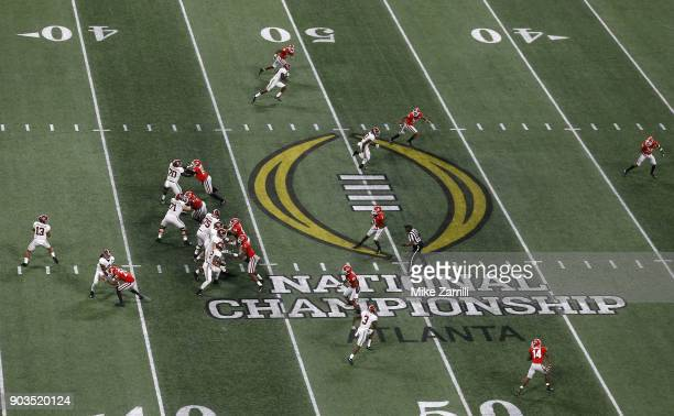 Quarterback Tua Tagovailoa of the Alabama Crimson Tide drops back to pass during the College Football Playoff National Championship game against the...