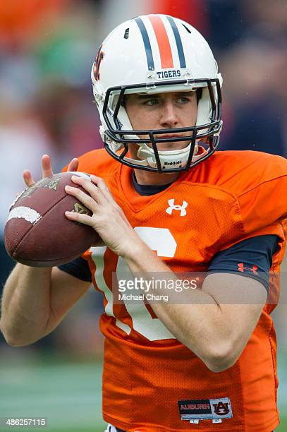 Quarterback Tucker Tuberville of the Auburn Tigers warms up prior to Auburn's ADay game on April 19 2014 at JordanHare Stadium in Auburn Alabama The...