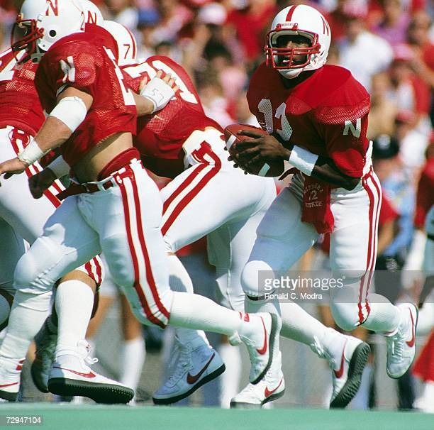 Quarterback Turner Gill of the University of Nebraska Cornhuskers looks to pass during a game against the Syracuse University Orangemen on October 1...